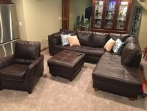 Leather Sectional W/ Recliner & Ottoman in Chicago, Illinois