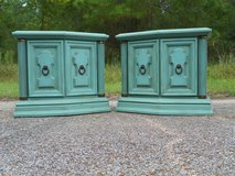 Teal Shabby Chic End Tables Nightstands Set in Kingwood, Texas