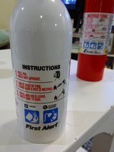 Fire extinguisher only the wight one is left in Okinawa, Japan