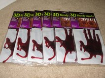 """NEW HALLOWEEN """"BLOODY HANDS"""" 3D GEL CLING ONS SET OF 4 in Camp Lejeune, North Carolina"""