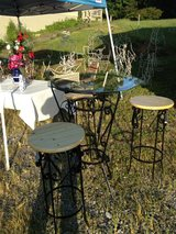 Handmade metal and glass bistro table set in Clarksville, Tennessee