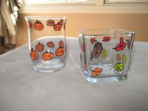 Hand Painted Glass Votives Fall Halloween Thanksgiving in Oswego, Illinois
