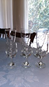 Vintage etched glasses 6 pc in Warner Robins, Georgia
