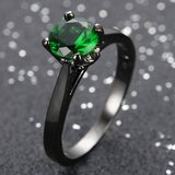 New - Dainty Green Emerald CZ and Black Ring - Sizes 7 and 8 in Alamogordo, New Mexico