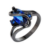 New - Blue Sapphire Marquise and Black Ring - Size 7 in Alamogordo, New Mexico