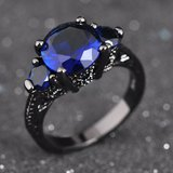 New - Blue Sapphire and Black Ring - Size 7 in Alamogordo, New Mexico