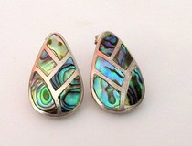Vintage Mexican Taxco sterling silver and abalone shell inlay earrings in Okinawa, Japan