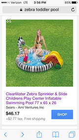 Toddler Zebra Pool with fountain in Beaufort, South Carolina