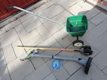 10'' Electric Weed +Lawn Spreader+Lawn Tool+Free 2 New Gutter Scoop,Mower Used 2 Times in Lockport, Illinois