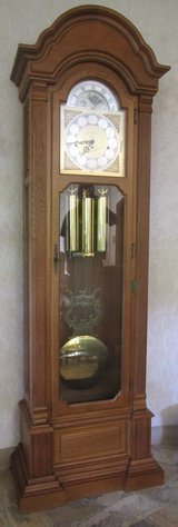 Big German Grandfather Clock Solid Oak Housing in Ramstein, Germany