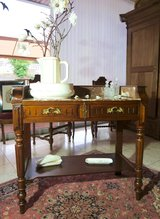 elegant French console table ... tiger oak with red marble top in Ramstein, Germany