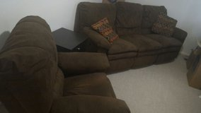 Brown suede couch w/ recliner and end table in Belleville, Illinois