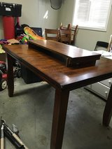 Figaro  counter height table with leaf, 4 chairs, and bench in Huntsville, Alabama