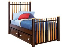 Baseball Bat Twin Bed with Trundle Bed in Dothan, Alabama