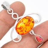 New - Amber and Fire Opal Pendant (Comes with a chain) in Alamogordo, New Mexico