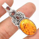 New - Amber and Garnet 925 Sterling Silver Pendant (Comes with a chain) in Alamogordo, New Mexico