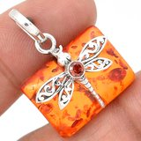 New - Dragonfly - Amber & Garnet 925 Sterling Silver Pendant (Comes with a chain) in Alamogordo, New Mexico