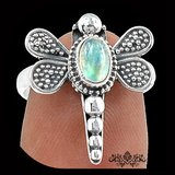 New - Dragonfly Moonstone 925 Sterling Silver Ring - Size  6 1/2 in Alamogordo, New Mexico
