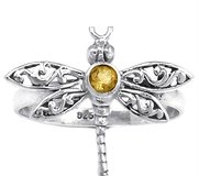New - Dainty Dragonfly Citrine 925 Sterling Silver Ring - Size 8 in Alamogordo, New Mexico