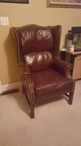 Leather wing back Chair w/matching ottoman in Naperville, Illinois