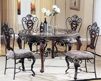 Beautiful Marble and Glass Table with 4 scroll design chairs in Fairfax, Virginia