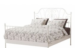 King Size Bed Frame  - White Metal frame with scroll detail in Fairfax, Virginia