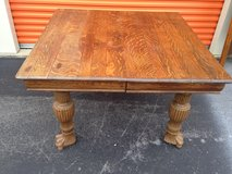 Antique Solid Qtr Oak Square Table W/ Big Paw Feet in Camp Lejeune, North Carolina