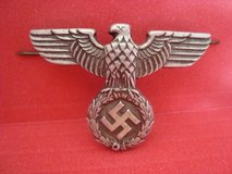 Original WWII 1939-1945 German Army EM/NCO Visor Cap SWASTIKA Eagle Emblem Pin in Naperville, Illinois