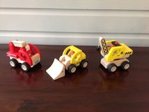 Set of 3 Wooden Toy Vehicles  (Fire truck, Digger, and Crane) in Bolingbrook, Illinois