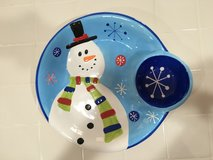 Snowman chips and dips in Alamogordo, New Mexico