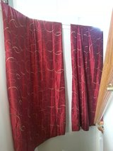 2 Curtain Panels - Red w/ Gold Circles in Batavia, Illinois