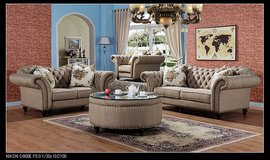 Elizabeth - grey material - sofa + loveseat + chair + delivery & set-up $1827 when coffee table/... in Spangdahlem, Germany