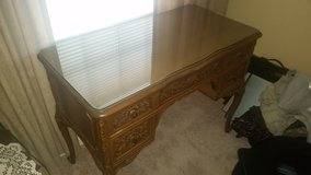 Antique Carved Desk with Glass Top and small chair-new low price in CyFair, Texas
