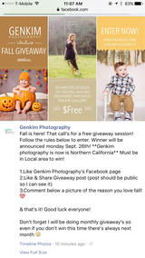 Fall Giveaway session in Travis AFB, California