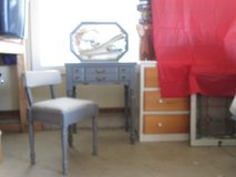 Upcycled small gray painted solid wood table or desk plus chair w/ attached mirror & storage in Chicago, Illinois