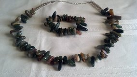 Multi Colored Indian Agate Women's Necklace And Bracelet Set #2 in Ottumwa, Iowa
