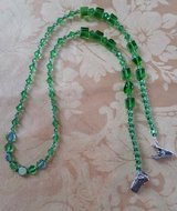 Eye Glass Holder, Green Crystal Theme Glass Beads, with Grip Clips in 29 Palms, California