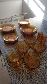 French Vintage Vereco Amber Dishes Set in Ansbach, Germany