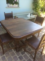 Antique solid table and 4 leather chairs from France in Ramstein, Germany