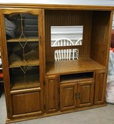 Solid wood entertainment center with storage in Conroe, Texas