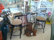 2 Black Metal Swivel Bar Stools (1594-2523) in Camp Lejeune, North Carolina