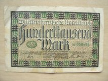 1923 Reichbanknote (100,000 Marks) issued in Stuttgart in Ramstein, Germany