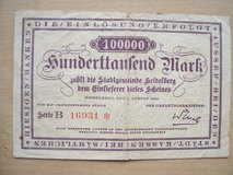 1923 Reichbanknote (100,000 Marks) issued by the city of Heidelberg in Ramstein, Germany