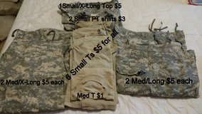 ACUs and PT shorts/shirts in Fort Gordon, Georgia