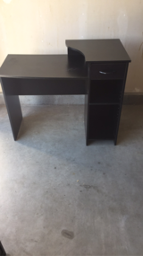 Black computer desk, with drawer and shelf in Temecula, California