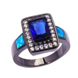 New - Blue Sapphire/Blue Opal and Black Ring - Size 7 in Alamogordo, New Mexico
