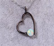 New - Black Heart with White Opal Pendant (Includes a chain) in Alamogordo, New Mexico
