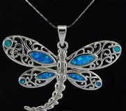 New - Blue Fire Opal Dragonfly Necklace in Alamogordo, New Mexico