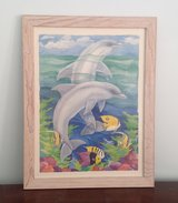 Dolphin Picture with Tropical Fish in Beachwood Colored Wood Frame in Bartlett, Illinois
