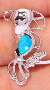 New - Parrot Blue Fire Opal Pendant (Includes chain) in Alamogordo, New Mexico